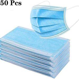 50 PZ. Maschere azzurre usa e getta per il Viso